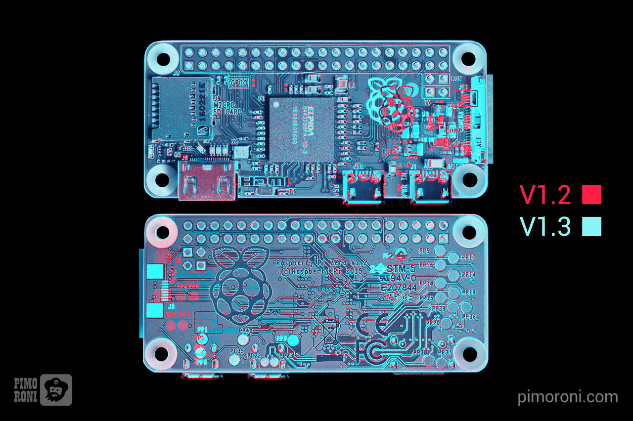 Difference between PiZero V1.2 and V1.3