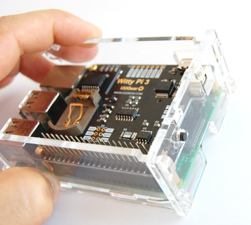Acrylic Case for Witty Pi 3 and Raspberry Pi (3B, 3B+ or 4B)