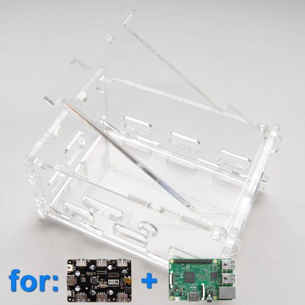 Acrylic Case for 7-Port USB Hub and Raspberry Pi (Clear)