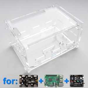 Acrylic Case for Witty Pi (1 or 2), 7-Port USB Hub and Raspberry Pi (Clear)